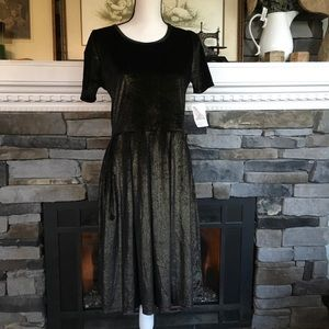NWT LuLaRoe Amelia dress elegant velvet gold
